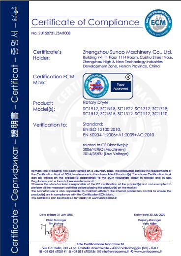 CE Certificate for Rotary Drum Dryer, Rotary dryer, rotary drum dryer, drum dryers