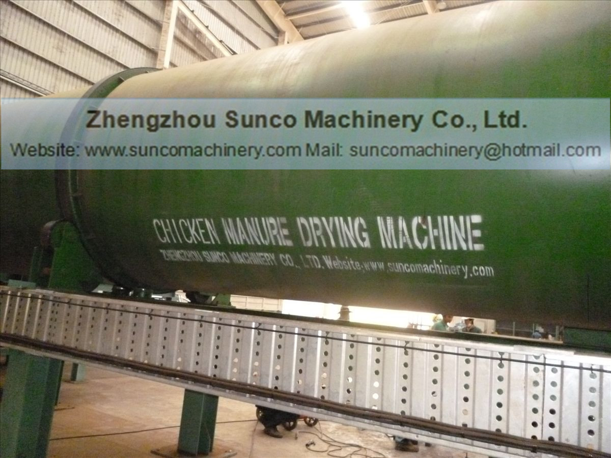 Rotary drum dryer for chicken manure , poultry manure drying machine
